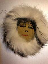 Native American Indian Fur Hat Face Big Pin Brooch Vintage Jewelry Folk Art
