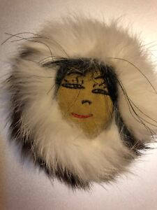 Native American Indian Fur Hat Face Big Pin Brooch Vintage Jewelry Folk Art