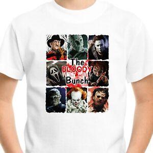 Horror T-SHIRT Halloween Gift Men Adult Kids Pennywise Jason Scream Top Bloody