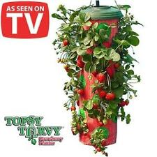 NEW TOPSY TURVY UPSIDE DOWN HANGING STRAWBERRY PLANTER - GROWN 15 QUARTS (QTS)