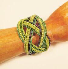 "2"" Wide Green Multi Boho Handmade Statement Braided Seed Bead Bali Cuff Bracelet"