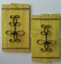 Rustic country Wall decor hanging candle holder/sconce yellow shabby hall entry