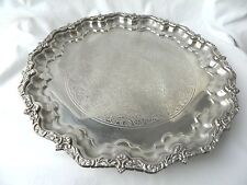 "Egyptian Brass Silver Plated Flower Design Handmade Round Tray 12""  Sale!"
