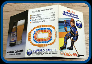 1977-78 BUFFALO SABRES LABATTS BEER HOCKEY POCKET SCHEDULE FREE SHIPPING