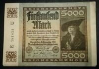 GERMANY Weimar Reichsbanknote - 5000 Mark Berlin 1922.