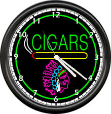 Cigar Store Indian Neon Color Cigars Wall Clock #176
