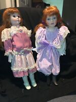 """2 OF DOLL Collectible Porcelain Edition Doll  """"MOTHER AND DAUGHTER"""" USED"""