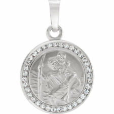 St. Christopher Medal 14K White Created with White Sapphires 14mm Width