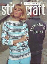 STITCHCRAFT August 1966 vintage sewing magazine knitting fashion craft