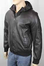 Tommy Hilfiger Brown Faux Leather Hooded Coat Jacket NWT...