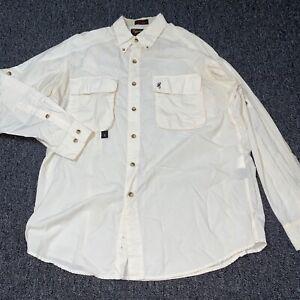 Browning RBO Trekwear Nylon Outdoor Hunting Button Down White Shirt L Hong Kong*