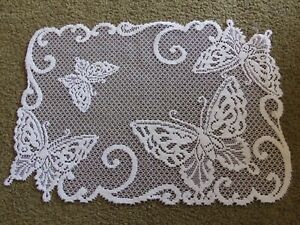 Lace Table Doily/Placemat Ivory Butterfly design 19 x 14