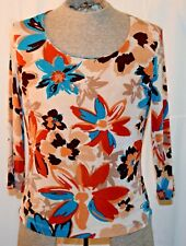 CHICOS WOMENS FLORAL PRINT 3/4 SLEEVE SIZE 1 FREE SHIPPING