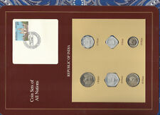 Coin Sets of All Nations India w/card UNC 1985-1988 Rupee 1986 50,10 paise 1988