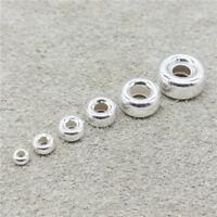 925 Sterling Silver Donut Tire Beads 3mm 4mm 5mm 6mm 8mm 10mm for Bracelet