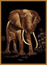 "Modern Black Africa Carpet 5x8 Elephant Safari Area Rug : Actual 5' 3"" x 7' 2"""