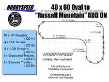 LIONEL FASTRACK 40 x 60 TO RUSSELL MOUNTAIN TRACK LAYOUT ADD-ON-PACK design NEW