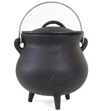cast iron cauldron with pentagram design 19cm tall wiccan,pagan,witch CO_29602
