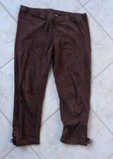 KNITWORKS BROWN LEGGINGS WITH LACE-UP CUFFS SIZE MEDIUM