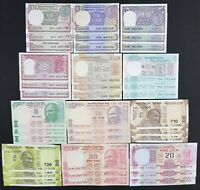 India Lot of 36 Notes in Set of 12 Different Issues Banknotes Each 3 Nos, in UNC