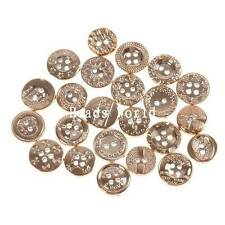 100 Pcs Mixed Rose Gold Pattern Round Resin Sewing Buttons Scrapbooking 12-13mm