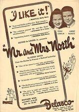 "Peggy Conklin ""MR. and MRS. NORTH"" Albert Hackett / Owen Davis Jr. 1941 Flyer"