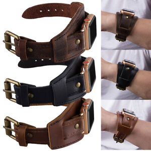 Geniune Leather Cuff Bracelet Watch Band Strap For Apple iWatch Series 7 6 5 4 3