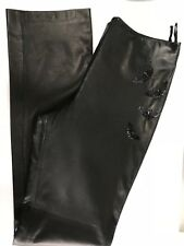 Unworn Vtg Gianni Versace Couture Black Lambskin Trousers Beaded Butterfy IT 44