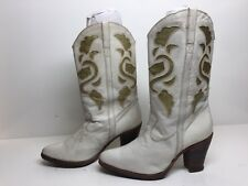 VTG WOMENS DR. ADAMS COWBOY LEATHER INLAY IVORY BOOTS SIZE 38?