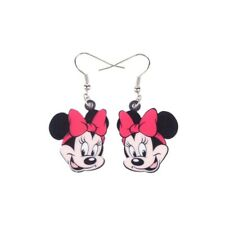 Acrylic Printed Minnie Mouse Cartoon Statement Silver Drop Earrings