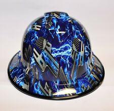 Wide Brim Vented  Hard Hat Hydro Dipped in Electric Blue Punisher w/ Brim Guard