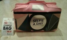 Selfie Camera Pink Handbag Make up Cosmetics Bag with detachable chain
