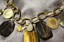 NEW BOSTON PROPER Natural Agate Mother of Pearl Charm Necklace with Coins