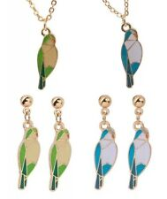 Enamel & Gold Plated Quaker Parrot Necklace & Earrings Set