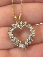W@W 14k VINTAGE Solid Gold 4g Diamond Heart Pendant 3/4 CTW  19 Inch Chain