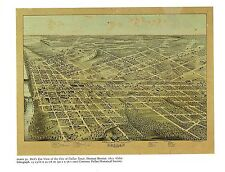 """1976 Vintage CITY /""""FORT WORTH TEXAS PERSPECTIVE MAP /"""" Color Art Lithograph 1891"""