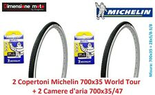 2 copertoni 2 camere D'aria Michelin 700x35 World Tour x bici 28 Single Speed
