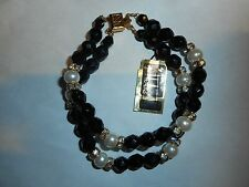 HOBE Vintage Jet Black Art Glass Majorca Pearl Rhinestone 2 Strand Bracelet MINT