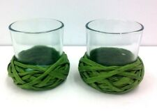 "Votive Candle Holders~Set of 2~Green Raffia Braid Trim~3"" Tall"