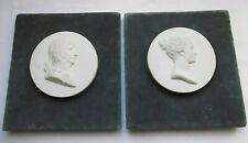 Vintage French Alabaster Portrait Napoleon & Josephine Medallion Framed Sevres