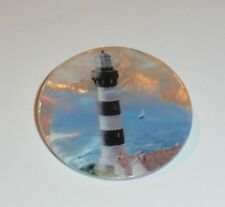 """Black & White Lighthouse MOP - Mother Pearl Shank Button 1-3/8"""" Lighthouse"""