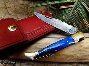 "Sale BMK-112 Knife 8″ Long 4 ""Blade "" 2oz Laguiole Folding Pocket Damascus Knife"