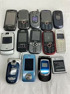 Lot of 13 Various Completely Untested Flip Qwerty cell phones older, as is