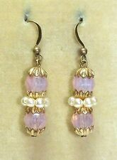 glass bead earrings - match 30s necklaces Art Deco facetted pink opaline & pearl