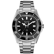 BULOVA 98b203 Da Uomo Marine Star Argento Bracciale in Acciaio Watch Rrp £ 249