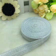 "New 5 Yards 5/8""15MM Fold Over Elastic Spandex Satin Band Ties Accessorie Silver"