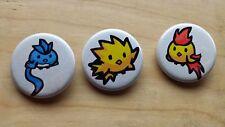"""Pokemon Articuno Zapdos Moltres Pin / Button 1-1/4"""" New Unused Handmade"""