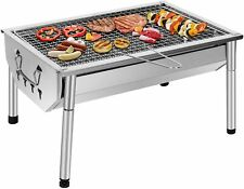 Barbecue charbon de bois rectangulaire en inox grille BBQ sur pied gril jardin