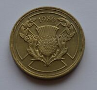 1986 Commonwealth Games Scotland Thistle Large Old £2 Coin Rare Two pounds
