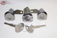 81-93 Mustang Ford Door Trunk Lock Cylinders Keys Chrome Cap Flat Pawl New